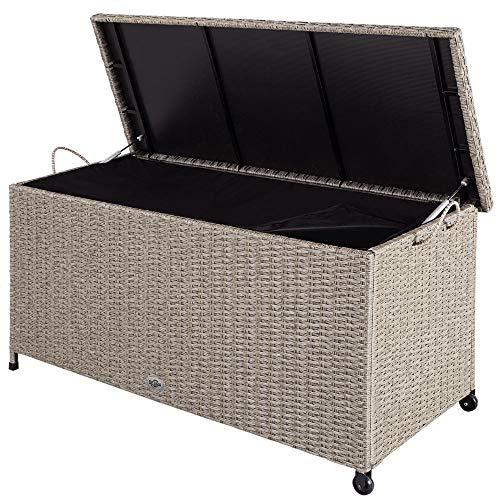 Deuba® Auflagenbox 122x56x61 cm Poly Rattan Wasserdicht Rollbar 2 Gasdruckfedern Kissen Garten Box Truhe Grau Beige