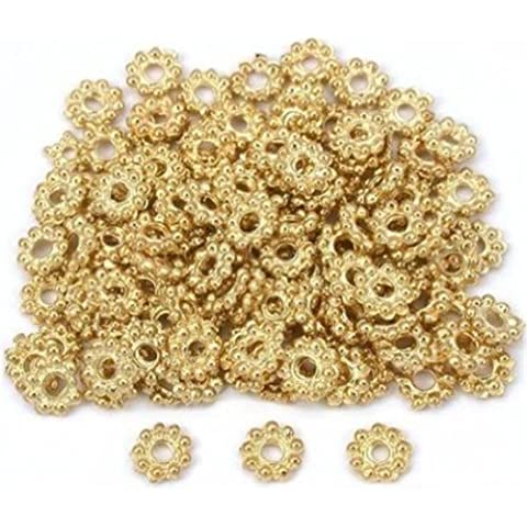 DUMAN Daisy Flower Bali Spacer Beads Gold Plt 6mm 200pcs