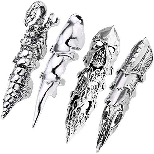4pc Hombres Armor Knuckle Full dedo doble anillo Punk junta Armadura anillo Rock gótico joyería Cool 4pcs #4