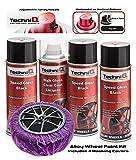 TechniQ Kit de Peinture pour Jantes en Alliage Noir Brillant 400 ML x 3 canettes + revêtement Transparent Haute Brillance + 4 masqueurs de Jantes en Alliage