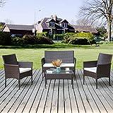 Outdoor-Möbel Rattan Wicker Terrasse Set Anti-Splash Bistro Stühle Gespräch Set mit Abnehmbare Kissen & Gehärtetem Glas Tischplatte für Garten, Veranda, Pool oder Balkon