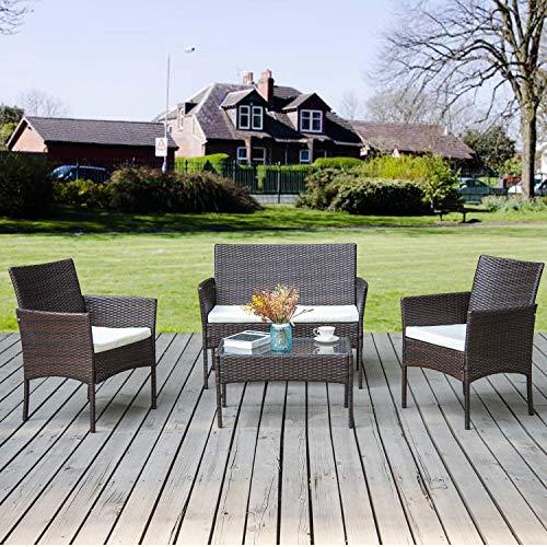 Merax Gartenmöbel Set Balkonmöbel Outdoor Loungeset Sitzgruppe Gartentisch Garten Möbel Für 4 Personen | Lounge Rattanoptik Poly Rattan für Balkon oder Terrasse (Braun)