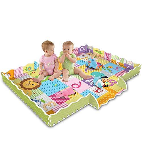 GRANDLIN Baby Krabbelmatte, ineinandergreifende Anti-Rutsch-Schaumstoff-Fliesen, Spielteppich mit Zaun Cartoon-Muster, Schutz für Kinder, Spielzimmer, Kinderzimmer (Im Teppich-fliesen Freien)