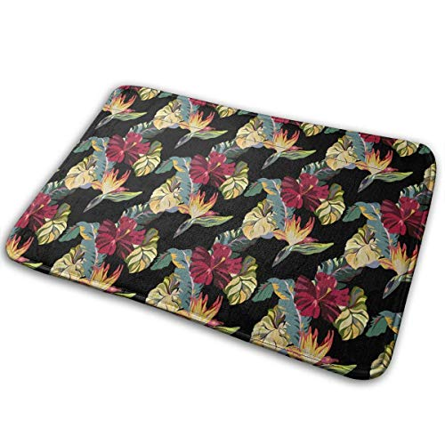 Black and White Towels Seamless Hawaiian-Style Flowers and Leaves Bath Mat Non Slip Absorbent Super Cozy Velvet Bathroom Rug Carpet Bath Rugs 27x25 Compact