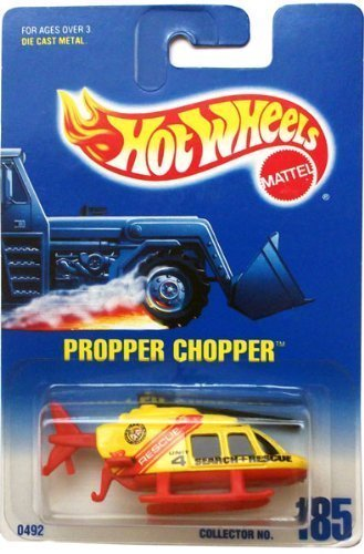 propper-chopper-yellow-red-search-rescue-helicopter-1991-hot-wheels-185-164-scale-by-hot-wheels