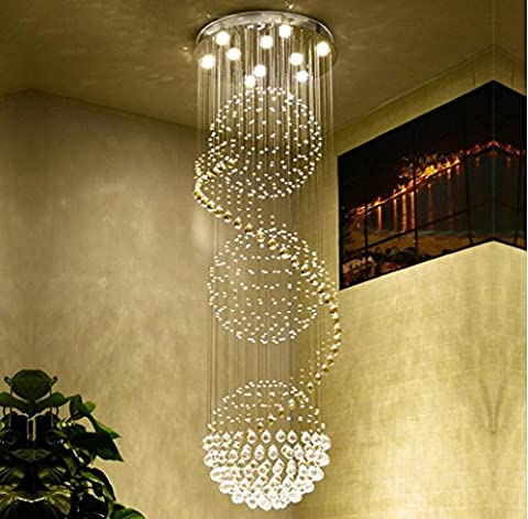 Villa Crystal ball lustre entrée de l'hôtel Duplex construction cristal Lumière led Salon des lumières de la chambre , 9