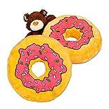 2x Donut Kissen XXL , Dekokissen bunt , Zierkissen Doughnut, Sitzkissen weich, Flauschig, Kuschelkissen, pink rosa