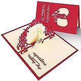 Hochzeitskarte 3d,Hochzeit Einladungskarte mit Umschlag,Pop Up Karte mit Glückwunsch für Hochzeitseinladungen,Hochzeit Jahrestag,Valentinstag,Verlobung,Konzert,Rot,1 stück