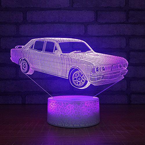 Nachtlicht, 3D Stereo-Licht der Kinder, Auto-Form-bunte geführte Lichter, Schlafzimmer-Nachttisch-Lampe, Tischplatte-Dekoration Maße: 137X201X88Mm, Fernbedienung