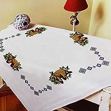 Kamaca - Kit de Punto de Cruz para Mantel (algodón, con Plantilla de Bordado