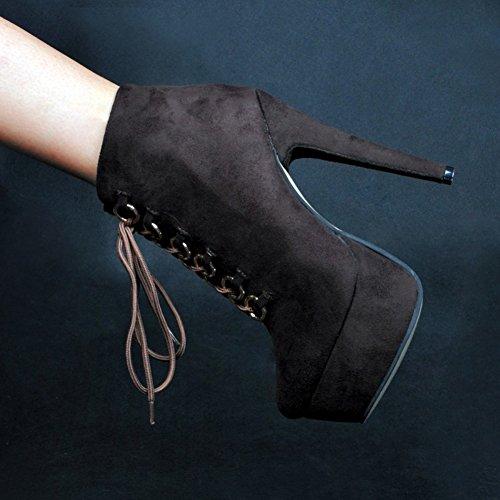 Kolnoo Damen Faschion 14.5cm Absatz Plattform Knöchel Aufladungen schnüren sich oben Partei Winter Beute Coffee