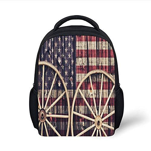 Kids School Backpack Western,Big Antique Cart Carriage Wheels with American Flag in Retro Vintage Colors World Print,Multi Plain Bookbag Travel Daypack