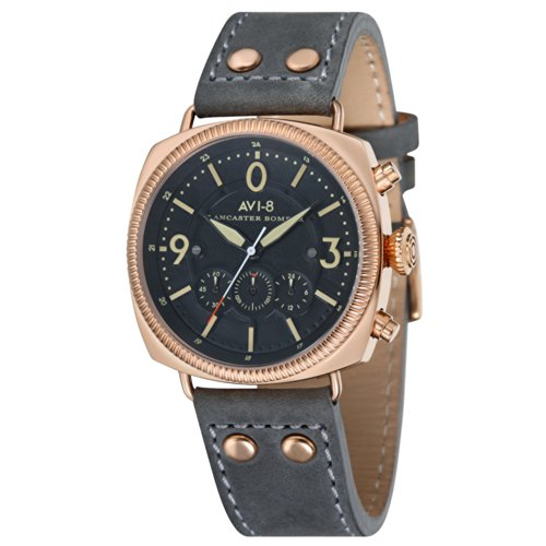 AVI-8 Men's AV-4022-04 Lancaster Bomber Rose Gold-Plated Stainless Steel Watch with Leather Band