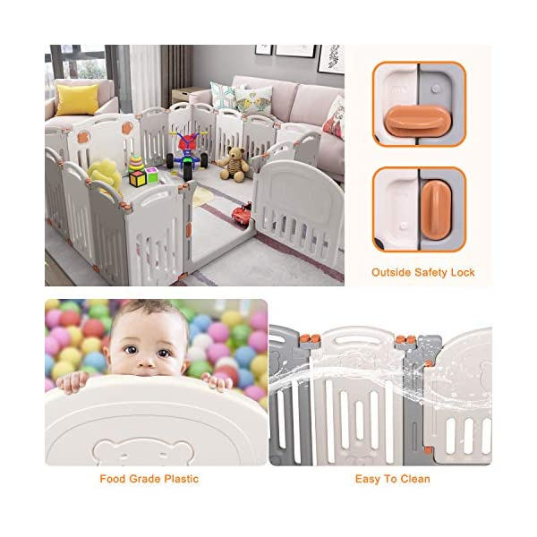 Baby Playpen,Foldable Playpen with Gates Activity Center Safety Play Yard for Babies and Kids - 14+2 Panel HDPE Indoor Outdoor Playards Fence Set Birtech 💝👼🏩Baby Playpen with Safety Material 💝👼🏩Crafted with high quality non-toxic commercial grade HDPE material widely utilized for every day products,BPA free and non-recycle material with HDPE, no any odor, perfect for your baby. 💝👼🏩Baby Playpen to Free You Hands💝👼🏩Cooking/housework or just want to rest inside the house for a while, a playpen is a great idea. You will have a play center to keep your baby safe and entertained. You can set it up easily and your kids can use their play area right away. 💝👼🏩Flexible Shape💝👼🏩You can use all 14+2 panels or less, it's up to you, this feature along with the ability to shape it be it square, rectangle, hexagon or octagon will fit anywhere in your house. 13