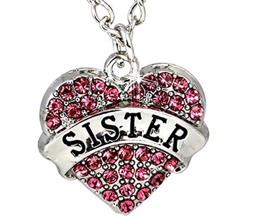 rz - Anhänger mit Strass Rosa Schriftlich beste Schwester (Schwester) Geschenk - Ideen für Frauen und Mädchen (Cosplay-ideen Mädchen)