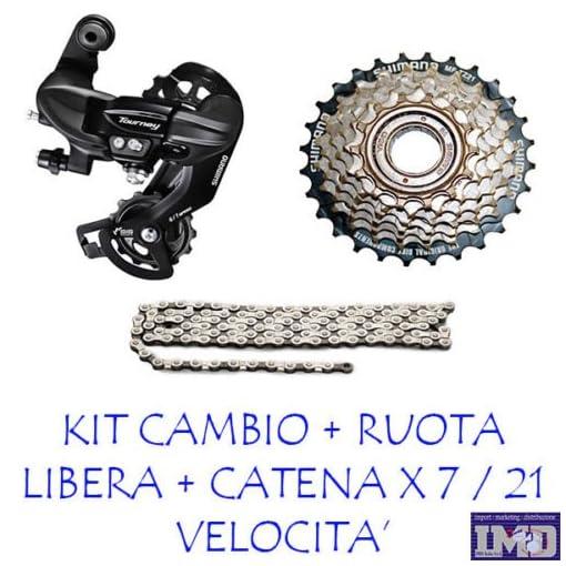KIT CAMBIO SHIMANO + RUOTA LIBERA 7 V. + CATENA MTB