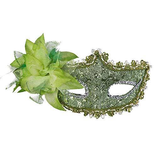 chenxiaspindes Venezianische Spitze Strass Pailletten Maske grün