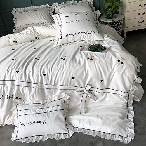 100% Baumwolle Bettbezug-Sets 4teilig(Bettbezug * 1 Flache Blätter * 1 Kissenbezug *2) Weich Atmungsaktiv Antistatisch Goldfaden Bestickt Kirsche Bettwäsche-Set Double King,White- 220 * 240cm (Bettwäsche Bettbezug King White)