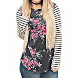 OVERDOSE Mokingtop Damen Floral Splice Printing Rundhals Pullover Bluse Tops T-Shirt (S, H-Gray)