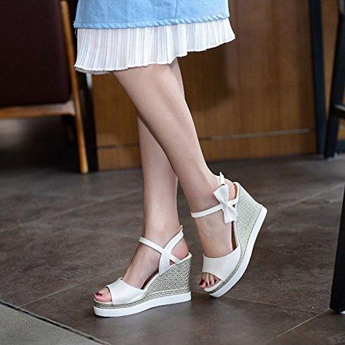 COOLCEPT Femmes Mode Confortable Talon Compenses Sandales Orteil ouvert Peep Toe Chunky Sangle de Cheville La marche Chaussures Blanc