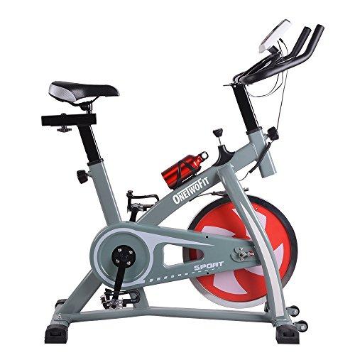 OneTwoFit | Profi Indoor Spin Bike Speedbike | Heimtrainer SOLIDES 13 kg Schwungrad Cardio Training Workout mit Yogamatte | OT018G