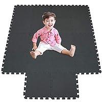 meiqicool Outdoor/Indoor Protective Kids Soft Floor Mats Interlocking - Reversible Floor Matting suitable for Gym, Baby Play Area, Exercise, Yoga, Pilates Matz Set (18PC Eva Mat)