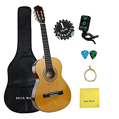 3 4 Classical Guitar Acoustic Beginner kit, 36 inch Nylon Strings Children Guitar Package Natural