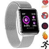 Bluetooth Smartwatch, Fitness Uhr, Kompatibel mit Android Smartphone (P68 Silber)