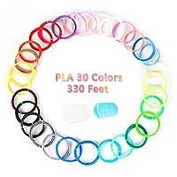 MKOEM 3D Pen Filament Refills PLA 1.75mm with Finger Caps- 30 Colors, 11 Feet Each, Total 330Feet (30Colors)
