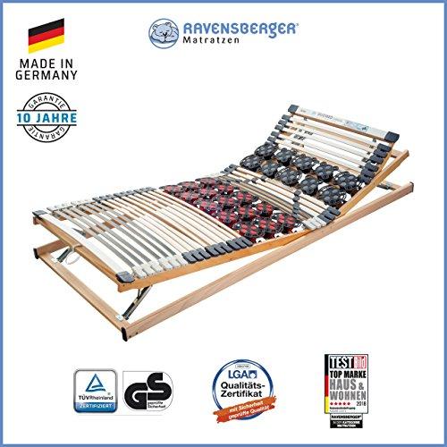 *RAVENSBERGER DUOMED® 7-Zonen-Teller-LEISTEN-BUCHE-Lattenrahmen | Verstellbar | Made IN Germany – 10 Jahre GARANTIE | TÜV/GS + Blauer Engel – Zertifiziert | 80 x 200 cm*