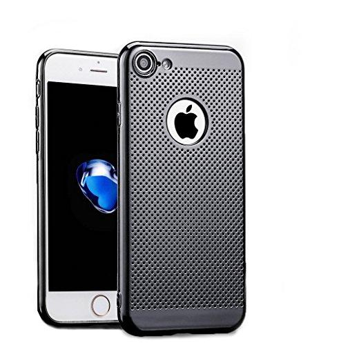 iPhone 7Case, Chrome Cooling Vent Löcher Weich superdünn Kühlung Mesh Slim Cover für Apple iPhone 711,9cm Fällen, Schwarz Chrome Iphone Fall