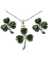 b38b4d33ac57 Plata de ley 925 verde piedra corazón trébol irlandés de Set de regalo