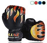 Luniquz Gants de Boxe Enfant 3-10 Ans en Cuir Gant d'Entraînement de Boxe pour MMA Muay Thai Kickboxing Sac de Frappe-Noir/6 oz