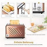 Housmile Edelstahl Toaster für 2 Brotscheiben, Frühstück Sandwichtoaster mit herausnehmbarer Krümelschublade und 6 Bräunungsstufen, abnehmbarer Brötchenaufsatz und praktische Hebefunktion, Bronze - 5