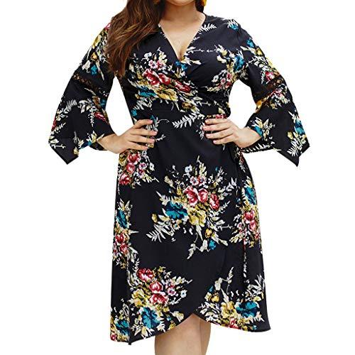 Vimoli Kleider Damen Plus Größe Sommer V-Ausschnitt Kleid Blumendruck Boho Sleeveless Party MaxiKleid ...(Zc Schwarz,XXXXXL)