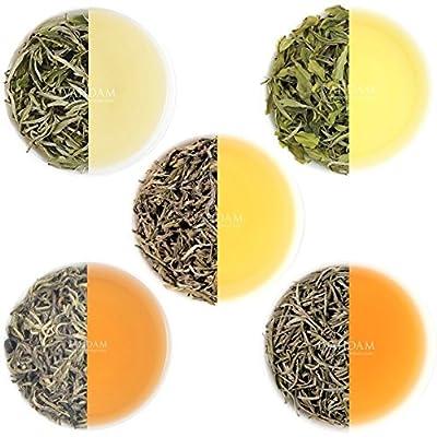 Thé blanc Loose Leaf Sampler - 5 THÉS - Thé blanc Himalaya, thé blanc à l'aiguille d'argent, thé blanc Blue Mountain, thé White Pearl Darjeeling - THÉ LE PLUS SANTÉ DU MONDE, feuilles de thé blanc (25 tasses, 50g)