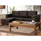 Furny Davis L Shape Leatherette Sofa (Brown)