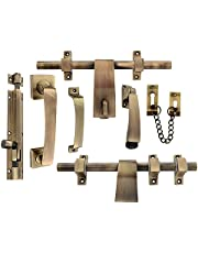 Klaxon Decent Brass Door Kit (Antique Finish, 7-Pieces)