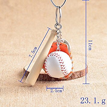 PRIMI Creative Handtasche Anhänger Mini Baseballschläger Handschuh Set Schlüsselanhänger–Orange
