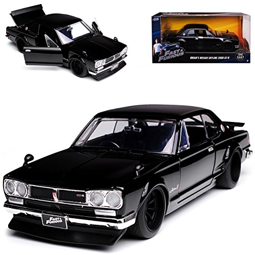 Jada Nissan Skyline 2000 GT-R C10 Coupe Schwarz Brian O´Connor Paul Walker The Fast and The Furious 1968-1972 1/24 Modell Auto