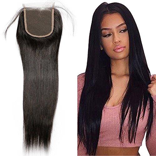 Lace Closure Human Hair Brasilianischen Haar Glatt Remy Echthaar Remy Haarverlängerung mit Baby Hair Naturschwarz 4*4 Zoll