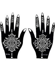 Mehndi Tatouage Pochoir pour la main Mehndi Tatouages au henné - à usage unique S103 - pour tatouage au henné, tatouage paillettes et aérographe tatouage