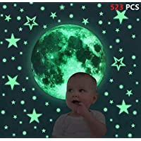 iZEN 523PCS Glow in the Dark Stickers Glow in Dark Moon Dots Stars Luminous Wall Sticker Kids Decals