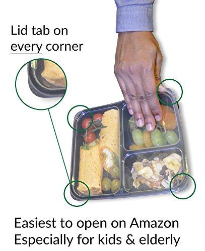 |10 pack| 3 fach Meal Prep Container. Frischhaltedosen Bento-Box Set mit Deckel. Spülmaschine, Mikrowelle, Gefrierschrank safe. BPA-frei Frishchalteboxen aus Kunststoff mit Trennwände [1L] - 9