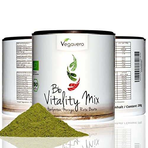 BIO Superfood Mix VITALITY | 200g | Schadstoff-geprüft | Hanfprotein - Moringa – Rote Beete | OHNE Zusatzstoffe | Vegan | Vegavero: from Nature - with Passion - for You!