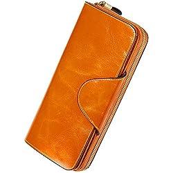 Damen Geldbörse Brieftasche aus Echt Leder Geldbeutel Geldtasche mit RFID Schutz, größer Kapazität, Multi-Kartensteckplatz auch als Handtasche bester Geschenk für Geburtstag, Valentinstag, Weihnachten