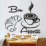Cmdyz Moderne Kaffee Croissant Französisch Bon Appetit Küche Wandaufkleber Wohnkultur Kunst Zitate Größe 46 * 43 Cm