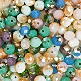 Juego de 160 cuentas de cristal para bisutería, color turquesa, azul, verde, morado y rosa, 8 mm