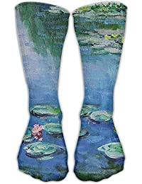 fringcoook Cropped Water Lilies Monet Crew Socks Cotton Casual Knitting Warm Winter Socks 19.7 inch