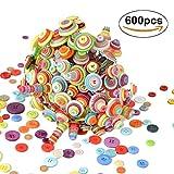 SOWEE Knöpfe Set 600 Bunte Kinderknöpfe Rund Kunststoff Mixed in Verschiedene Größen und Farben Zum Basteln